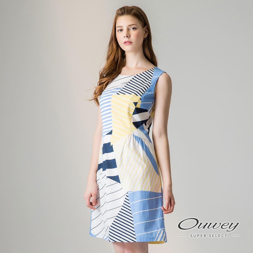 OUWEY歐薇 幾何印花修身背心洋裝(藍)-動態show