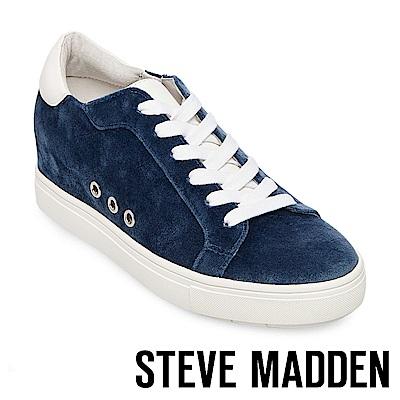 STEVE MADDEN-STEAL 天鵝絨內增高綁帶休閒鞋-藍色