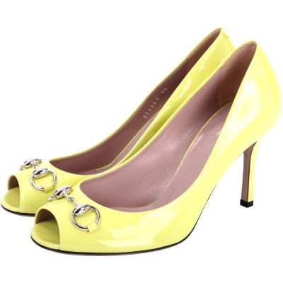 GUCCI Jolene 馬銜飾漆皮魚口高跟鞋(黃色)
