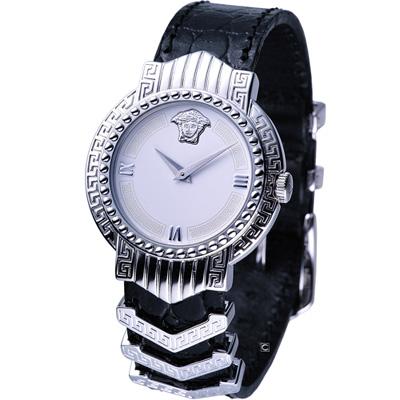 VERSACE 凡賽斯經典美杜莎紋飾腕錶-銀