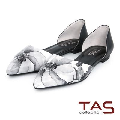 TAS-尖頭側鏤空印花牛皮平底鞋-印花白