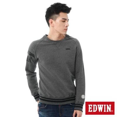 EDWIN 植絨LOGO拉克蘭厚絨長袖T恤-男-麻灰