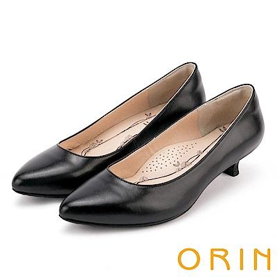 ORIN 都會時尚OL 柔軟羊皮素面尖頭跟鞋-黑色