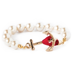 Kiel James Patrick 美國手工船錨中款珍珠 單圈手鍊-紅緞帶