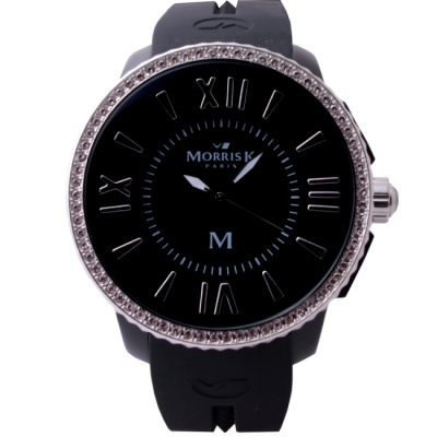 MORRIS K 簡約時尚潮流晶鑽大腕錶-黑/53mm