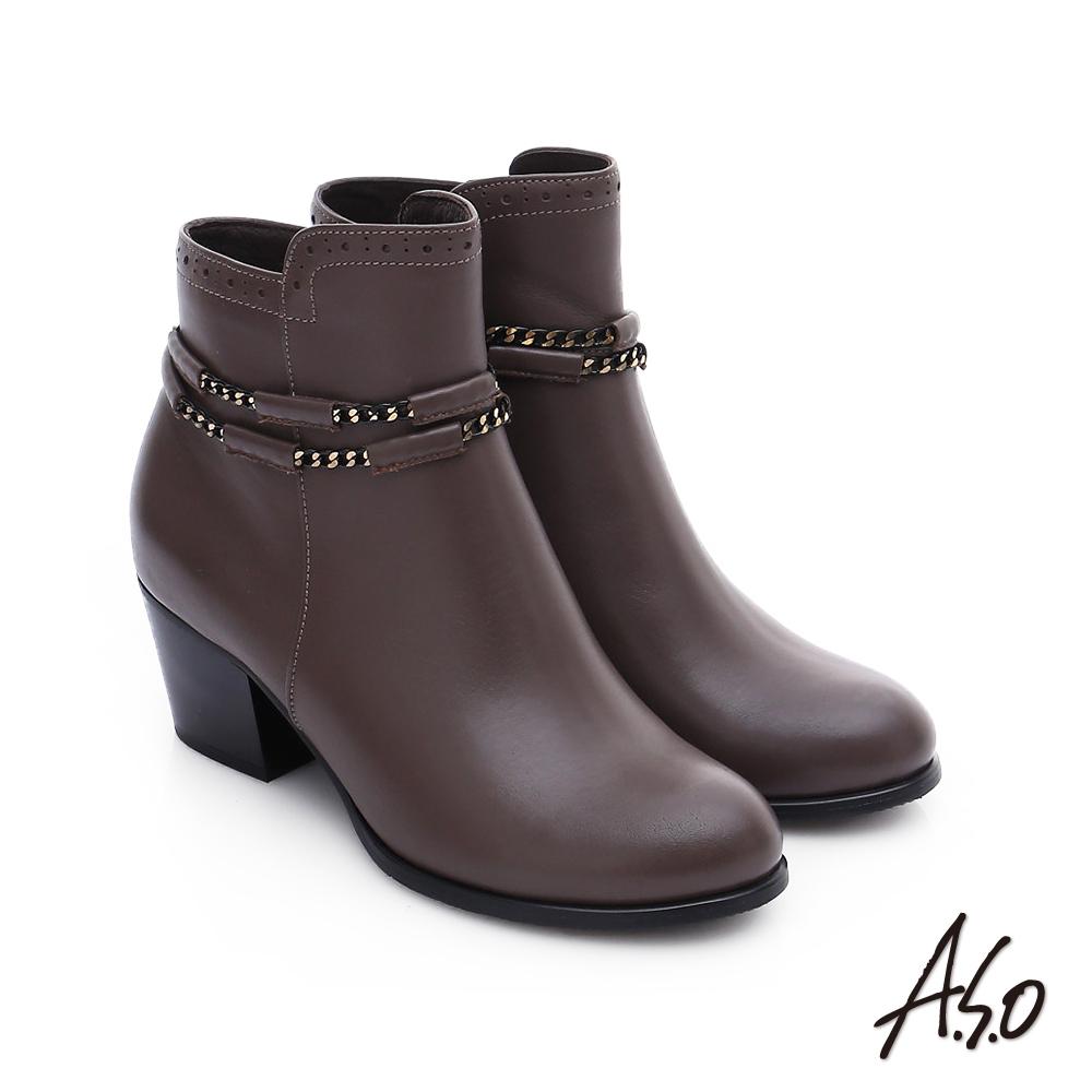 A.S.O 優雅美型 全真皮金屬鏈條圓楦短靴 灰