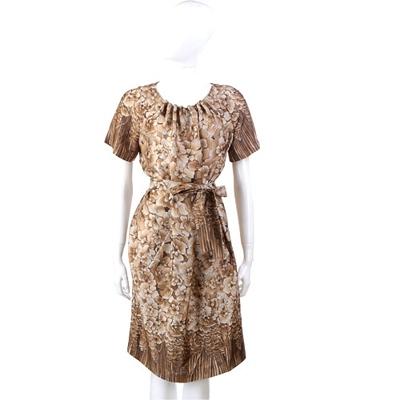 PHILOSOPHY 咖啡色漸層印花短袖洋裝(附腰帶)