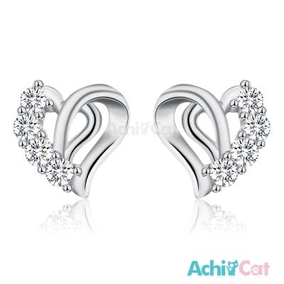 AchiCat 925純銀耳環 華麗美夢 純銀耳針 愛心