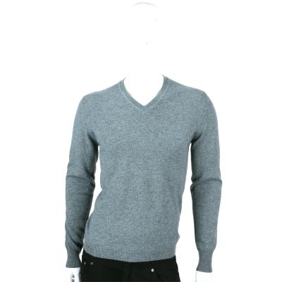 ALLUDE 灰綠色V領肘拼接設計針織上衣(100%CASHMERE)