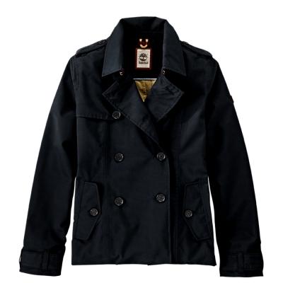 Timberland-女款黑色素面短版防雨風衣外套