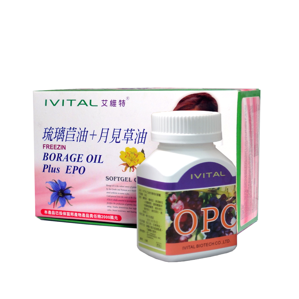 IVITAL婦利舒-冷壓琉璃苣油+月見草油軟膠囊(60粒)