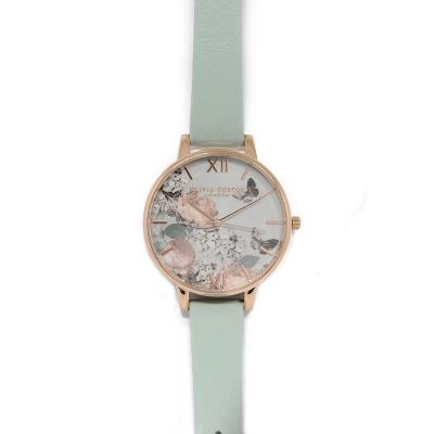 Olivia Burton 英倫復古手錶 蝴蝶牡丹花園 薄荷綠真皮錶帶 玫瑰金錶框38mm