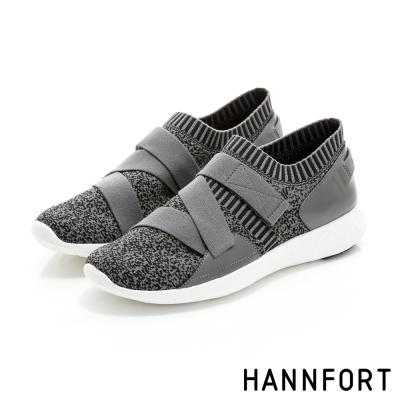 HANNFORT ICE暖心編織彈性帶時尚運動鞋-女-深灰
