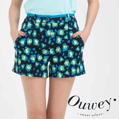 OUWEY歐薇-點點螢光滿版印花短褲