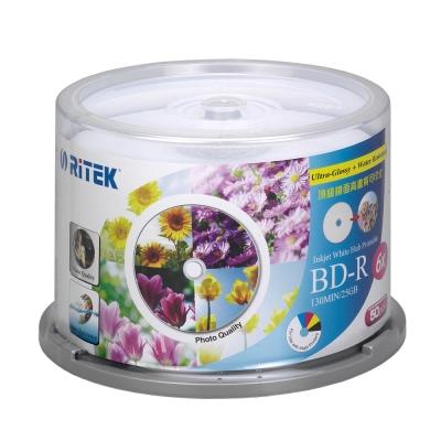 錸德 藍光 BD-R 25GB 6X 頂級鏡面相片防水可列印式光碟 50P布丁桶