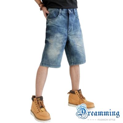 Dreamming 個性鬼洗抓皺牛仔五分短褲