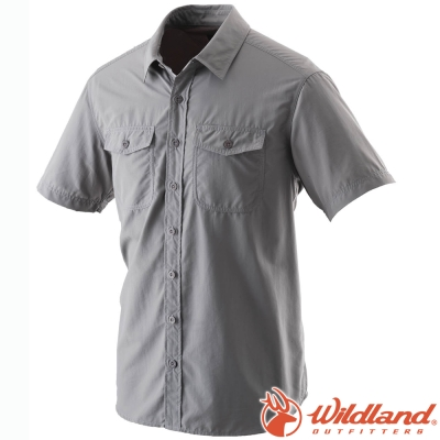 Wildland 荒野 W1206-92中灰 男 排汗抗UV短袖襯衫