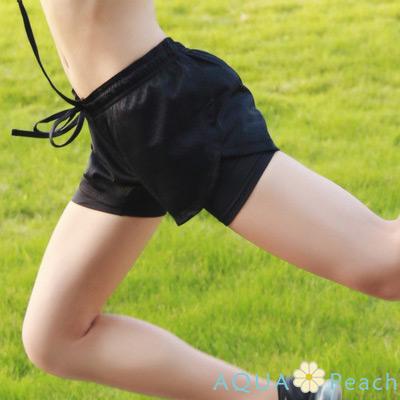 運動褲 透氣網狀假兩件拼接短褲 (黑色)-AQUA Peach