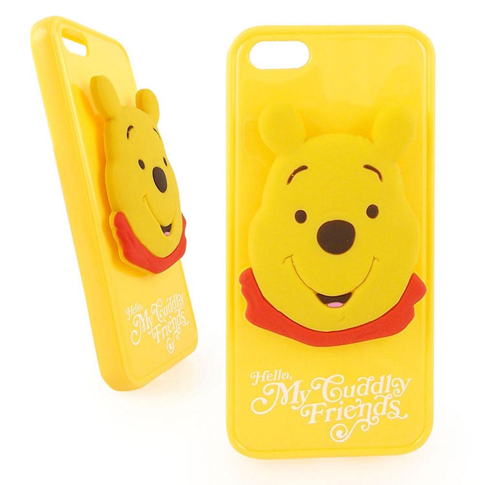 Disney iPhone 5/5S / SE 時尚大頭造型捲線保護套-維尼/小豬