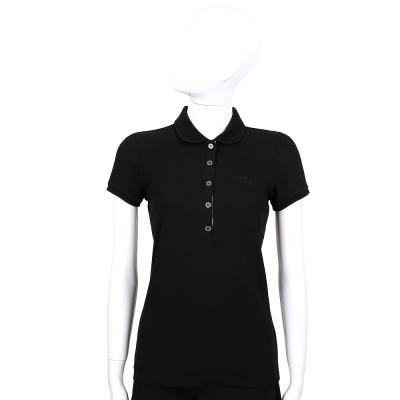 BURBERRY 黑色戰馬圖騰經典格紋飾短袖POLO衫(女)