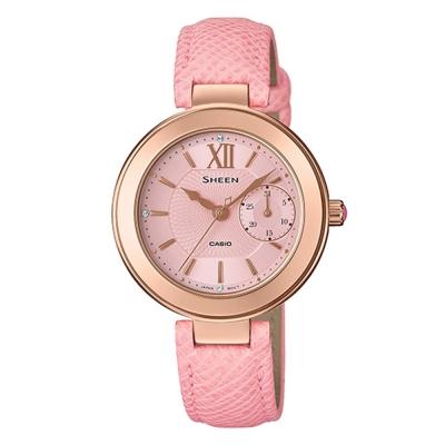 SHEEN羅馬時刻施華洛世奇清秀婉約皮帶腕錶(SHE-3051PGL-4)粉紅32mm