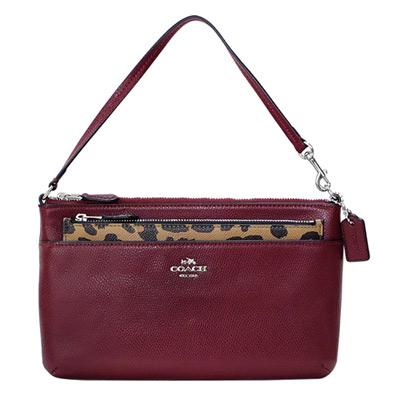 COACH酒紅防刮皮革附豹紋收納袋手提掛小包