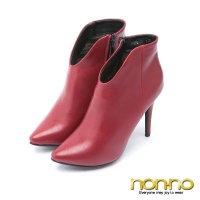 nonno都會性感 俐落剪裁高跟踝靴–紅