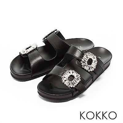 KOKKO-花鑽綿羊皮兩版休閒運動風涼鞋-黑