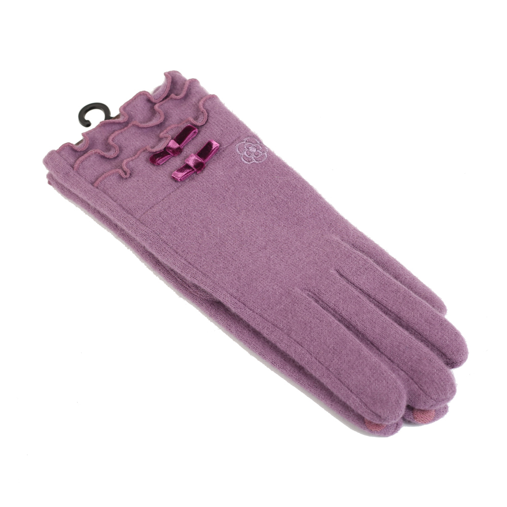 CLATHAS 安哥拉混羊毛絲絨蝴蝶結觸控手套(紫色) @ Y!購物