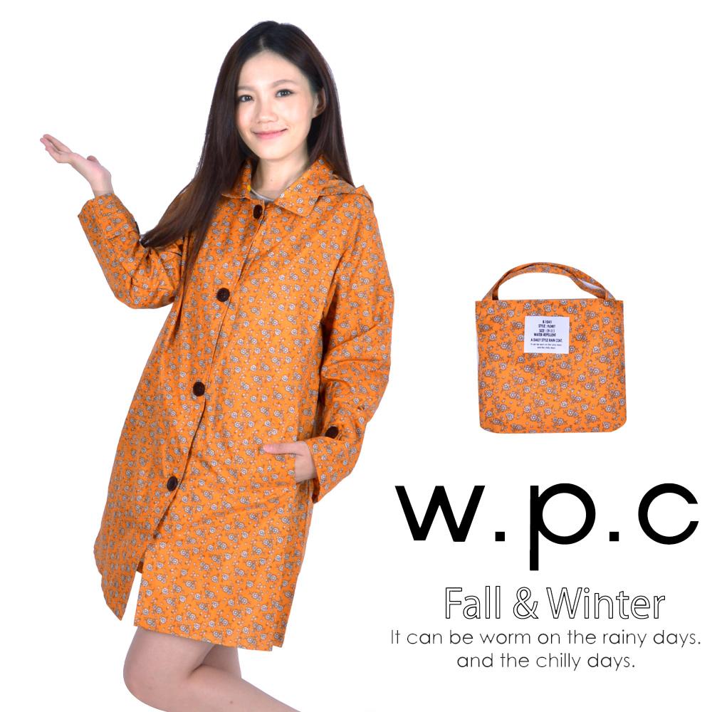 w.p.c 雛菊釦子款 時尚雨衣/風衣(R1041)_橘色