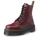 Dr.Martens JADON-8孔側拉鍊厚底亮皮馬汀靴-男款女款-櫻桃紅
