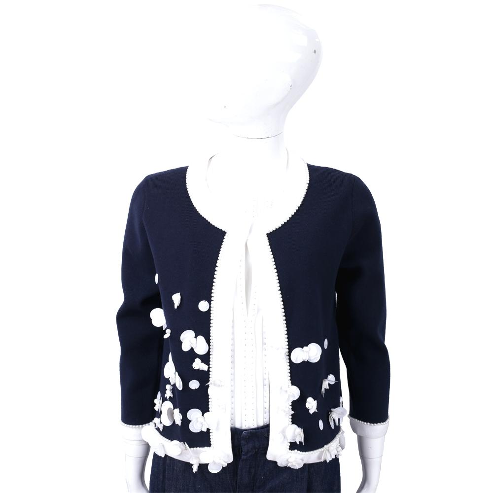 EDWARD ACHOUR PARIS 深藍色立體珍珠花細節針織小外套