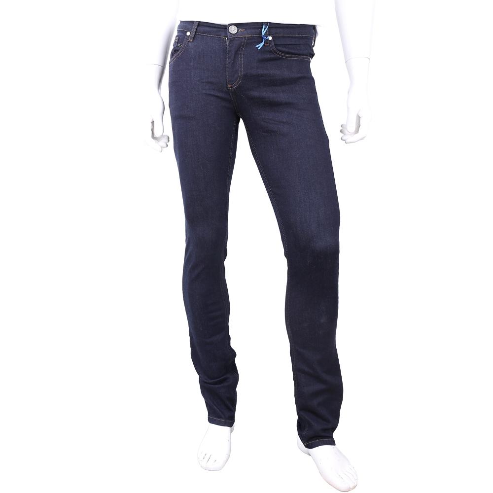 VERSACE 經典刺繡圖騰深藍色棉質牛仔褲