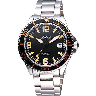 epos 深海探險家200米潛水機械錶-黑/橘/41mm