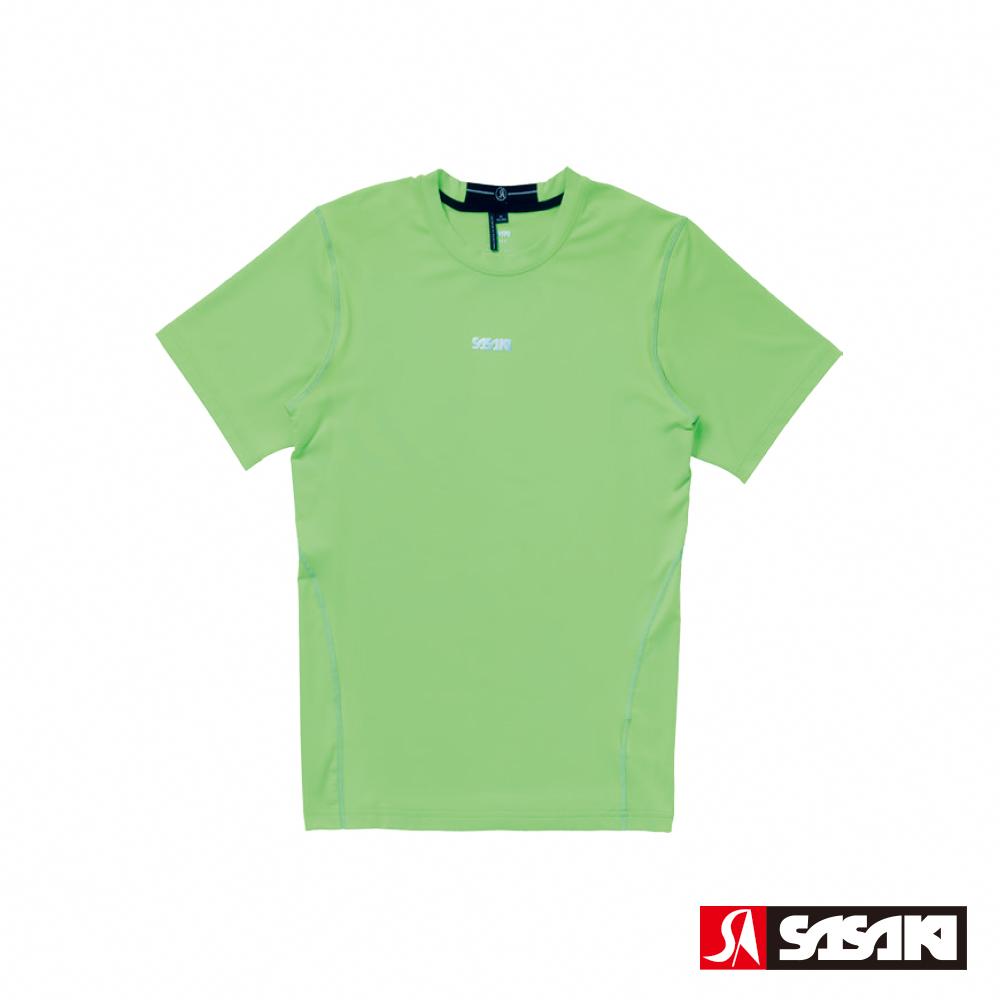 SASAKI 高彈力機能性運動緊身圓領短衫-男-艷綠/銀灰