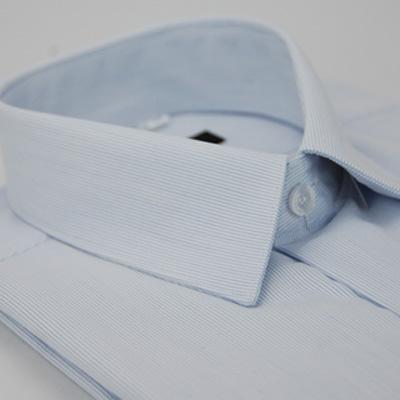 金‧安德森 淺藍直條紋長袖襯衫