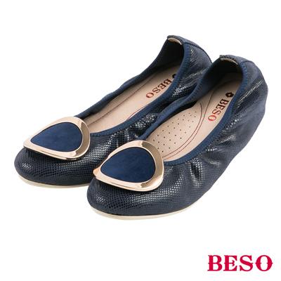 BESO都會休閒 圓形五金鬆緊帶內增高娃娃鞋~藍
