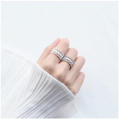 梨花HaNA 韓國925銀純白仙境蕾絲開口寬戒指