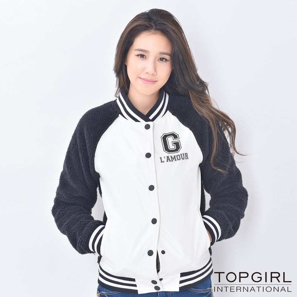 TOP GIRL 撞色棒球外套 (經典白)
