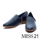 平底鞋 MISS 21 極簡生活縮花牛皮樂福鞋-藍
