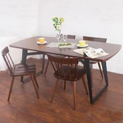Bernice-萊森工業風實木餐桌椅組(一桌四椅)-180x90x75cm