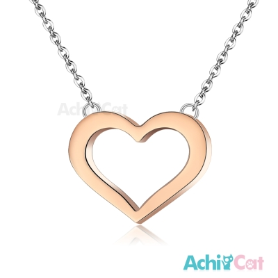 AchiCat 珠寶白鋼項鍊 簡愛 愛心(玫金)