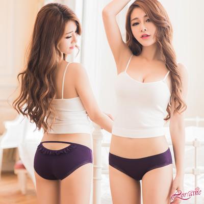 內褲 美臀挖洞造型低腰三角內褲(深紫) Lorraine