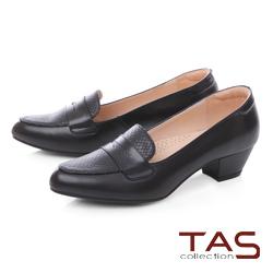 TAS質感壓紋拼接羊皮樂福粗跟鞋-經典黑