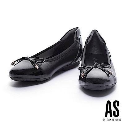 娃娃鞋 AS 典雅質感異材質拼接超軟Q厚底娃娃鞋-黑