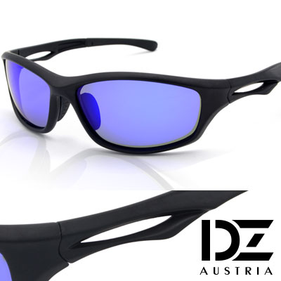 【2件59折】DZ 急速先鋒 抗UV 偏光太陽眼鏡墨鏡(黑框藍膜)