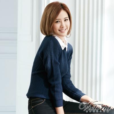 Victoria 活動襯衫領素面長袖線衫-女-深藍