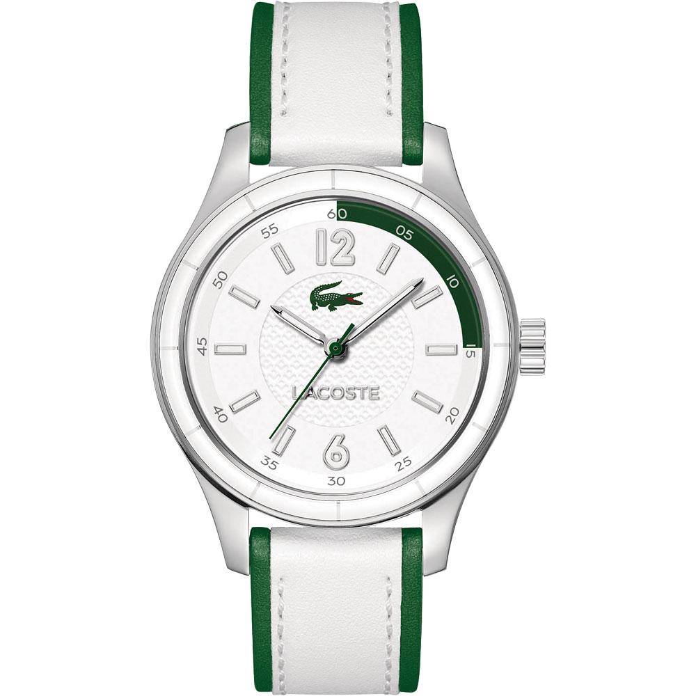 Lacoste 鱷魚 運動風時尚大三針腕錶-銀x綠/白/38mm