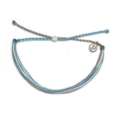 Pura Vida 美國手工SHARK TANK灰藍灰色螢光可調式手鍊衝浪海灘防水手繩