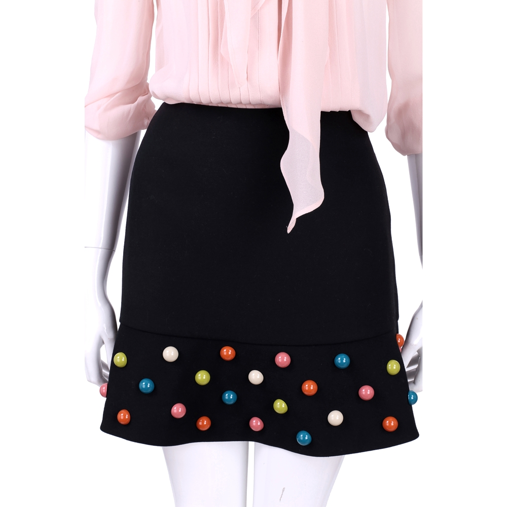 RED VALENTINO 黑色立體彩珠飾短裙
